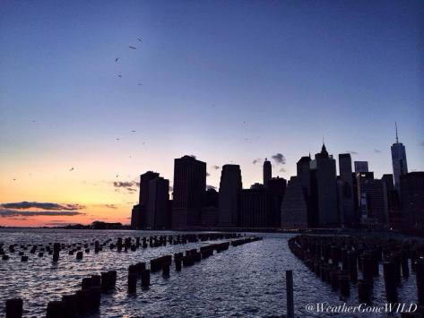 Sunset over the New York City Skyline by the Brooklyn Bridge.....